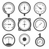 Manometer (pressure gauge) and vacuum gauge icons — Stock Vector