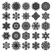 Decorative snowflakes. Black on white. Set 2 — Stock Vector