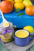 Lemon  Kurd  and citrus on the table. soft focus — Stock Photo