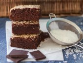 Chocolate brownie cake with coconut — Stock Photo