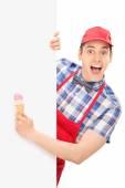 Male ice cream vendor — Stock Photo