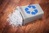 Recycle bin full of shredded paper — Stok fotoğraf