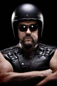 Male biker with helmet — Stockfoto