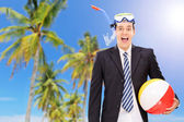 Man on beach with snorkel — Stock Photo