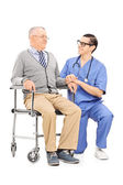 Male nurse talking to senior patient — Stock Photo