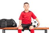 Little boy holding soccer ball — Stock Photo