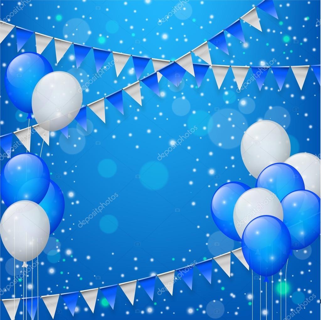 Feliz Cumpleaños Con Globos, Confeti Cinta Y Banderas