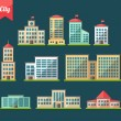 Set of flat design buildings icons — Stock Vector #52123909
