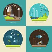 Modern flat design conceptual ecological illustrations — Stock Vector
