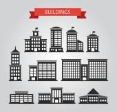 Set of flat design buildings pictograms — Stock Vector