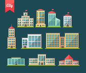 Set of flat design buildings icons — Vector de stock