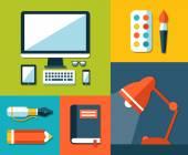 Illustration of school flat design composition — Vettoriale Stock