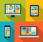 Set of modern flat design gadget icons — Vector de stock