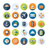 Set of travel flat design icons with long shadows — Stock Vector