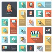 Conjunto de iconos de infografías de negocios moderno diseño plano — Vector de stock
