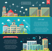 Set of flat design buildings compositions — Stock Vector