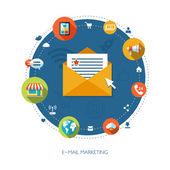 Illustration of flat design business marketing composition — Stock Vector