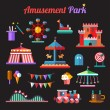 Set of flat design amusement park icons — Stock Vector #54783323