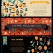 Set of flat design Halloween card templates — Stock Vector #54784505