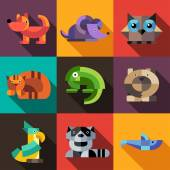 Set of flat design geometric animals icons — Vector de stock