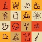 Set of retro graphical Halloween icons — Stock Vector