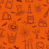 Illustration of retro graphical Halloween pattern — Stock Vector