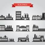 Set of flat design industrial buildings pictograms — Stock Vector #55359477