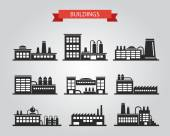 Set of flat design industrial buildings pictograms — Vetorial Stock