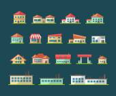 Set of flat design buildings pictograms — Stock vektor