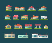 Set of flat design buildings pictograms — Stok Vektör