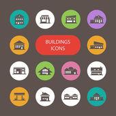 Conjunto de pictogramas de edifícios de design plano — Vetor de Stock