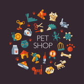 Set of flat design pet shop icons — Stock Vector