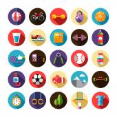 Set of flat design sport, fitness and healthy lifestyle icons — 图库矢量图片