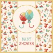 Illustration of flat design cute baby shower template — Stock Vector #56566441