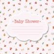 Illustration of flat design cute baby shower template — Stock Vector #56566495