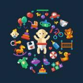 Set of flat design cute baby icons — Vetor de Stock