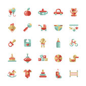 Set of flat design pastel cute baby icons — Stock Vector