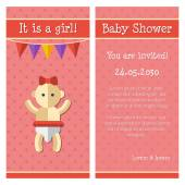 Illustration of flat design cute baby shower template — Stock Vector