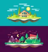 Modern flat design conceptual landscape illustrations with build — Cтоковый вектор