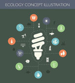 Illustration of ecological flat design composition with long sha — Vector de stock