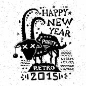 Illustration of vintage grunge New Year label — Stock Vector