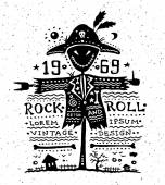 Illustration of vintage grunge label with scarecrow — Stock Vector