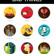 Set of modern flat mens bad things icons for your design — Stock Vector #59300129