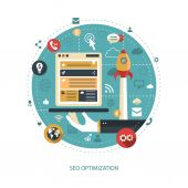 Illustration of flat design business illustration with seo optim — Stock Vector