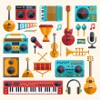 Set of modern flat design musical instruments and music tools ic — Stock Vector #60759987