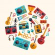 Set of modern flat design musical instruments and music tools ic — Stock Vector #60759997