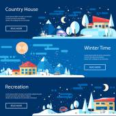 Illustration of flat design urban winter landscape compositions — 图库矢量图片