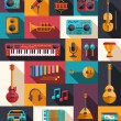 Set of modern flat design musical instruments and music tools ic — Stock Vector #60760029