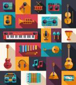 Set of modern flat design musical instruments and music tools ic — Stock Vector