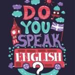 Modern  flat design hipster illustration with phrase Do you speak English — Stock Vector #62717699